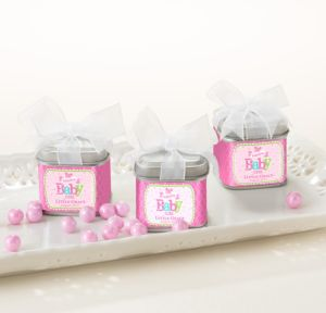 Personalized Baby Shower Wedding Favor Tins with Bows, Set of 12 (Printed Label) (Welcome Girl)
