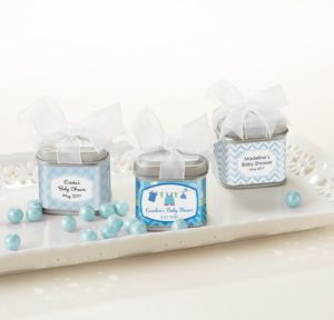 Personalized Baby Shower Wedding Favor Tins with Bows, Set of 12 (Printed Label) (Shower Love Boy)