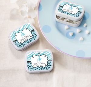 Personalized Baby Shower Mint Tins with Candy (Printed Label) (White, Blue Safari)