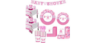Girl Baby Shower Tableware Kit Shower With Love 32 guests