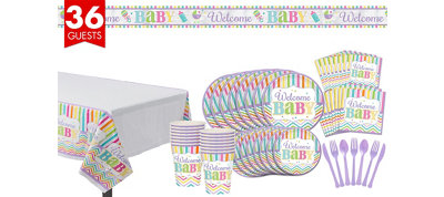 Welcome Baby Party Kit Bright Chevron Stripe 36 guests
