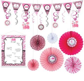 Pink Safari Girl Decorations Shower Kit