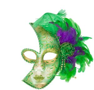Glitter Feather Mardi Gras Half Mask