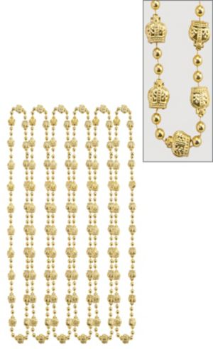 Gold Royal Mardi Gras Bead Necklaces 6ct