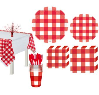 American Summer Red Gingham Basic Party Kit for 16 Guests