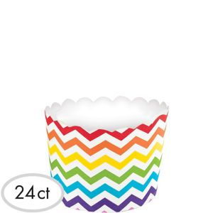 Bright Rainbow Chevron Scalloped Bowls 24ct