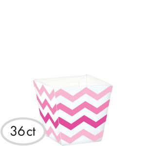 Mini Pink Chevron Cubed Bowls 36ct
