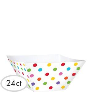 Bright Rainbow Polka Dot Square Bowls 24ct