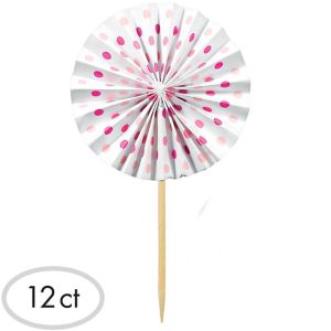 Pink Fan Party Picks 12ct