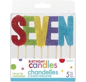 Glitter Multicolor Seven Birthday Toothpick Candle Set 5pc