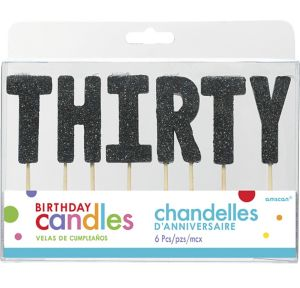 Glitter Black Thirty Birthday Toothpick Candles 6ct