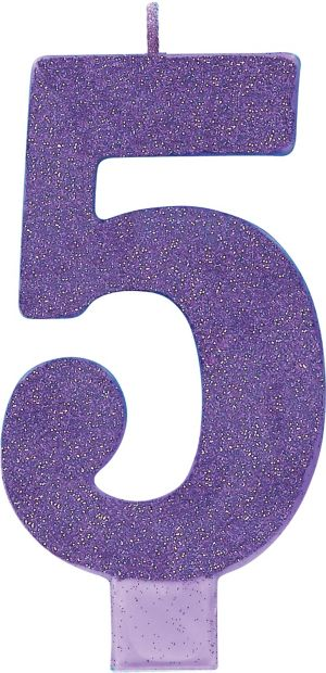 Giant Glitter Purple Number 5 Birthday Candle