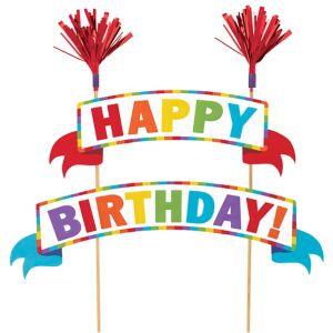 Multicolor Happy Birthday Banner Cake Topper