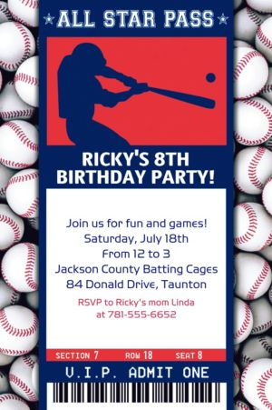Custom Baseball Ticket Invitation