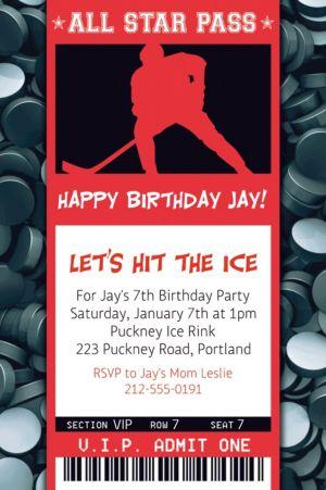 Custom Hockey Ticket Invitation