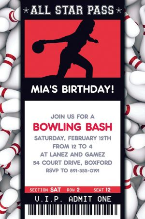 Custom Female Bowling Ticket Invitation