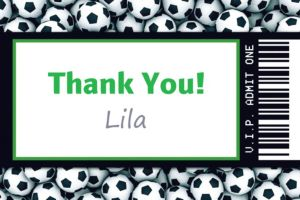 Custom Soccer Ticket Thank You Note