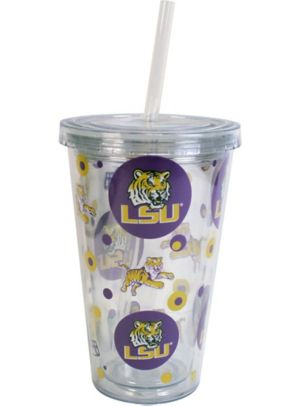 Louisiana State Tigers Double Wall Tumbler with Straw