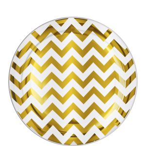 Gold Chevron Premium Plastic Lunch Plates 20ct