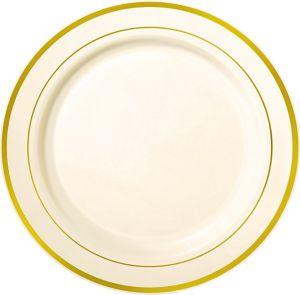 Cream Gold Trimmed Premium Plastic Buffet Plates 10ct