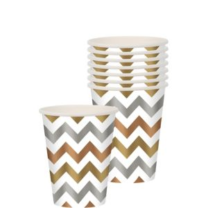 Metallic Chevron Paper Cups 8ct
