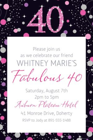 Custom Pink Sparkling Celebration 40 Invitation