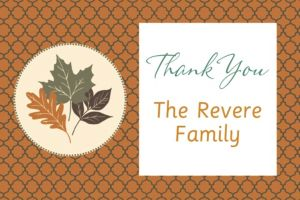 Custom Copper Leaves Thank You Note
