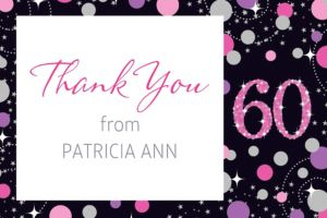 Custom Pink Sparkling Celebration 60 Thank You Note