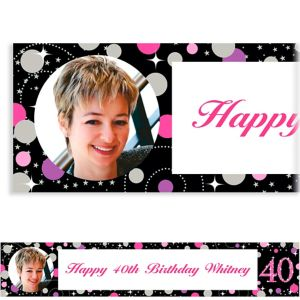 Custom Pink Sparkling Celebration 40 Photo Banner