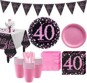 Pink Sparkling Celebration 40th Birthday Party Kit for 32 Guests
