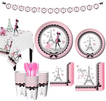 Pink Paris 13th Birthday Party Kit for 32 Guests