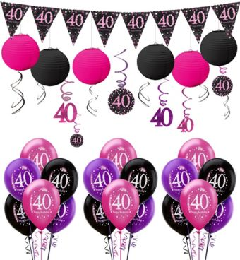 Pink Sparkling Celebration 40th Decorating Kit with Balloons