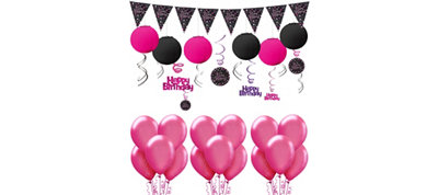 Pink Sparkling Celebration Happy Birthday Decorating Kit with Balloons