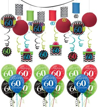 Celebrate 60th Birthday Decorating Kit with Balloons