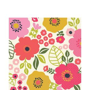 Coral Floral Lunch Napkins 16ct