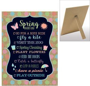 Burlap Spring Bucket List Chalkboard Sign