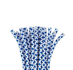 Royal Blue Diamond Flexible Paper Straws 24ct