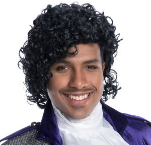 80s Artist Curly Black Wig