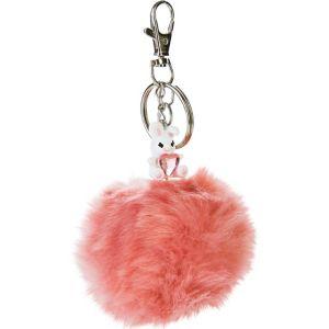 Pink Easter Bunny Pom-Pom Keychain