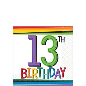 Rainbow 13th Birthday Beverage Napkins 16ct