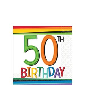 Rainbow 50th Birthday Beverage Napkins 16ct