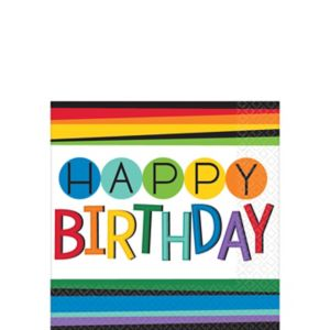 Rainbow Happy Birthday Beverage Napkins 16ct