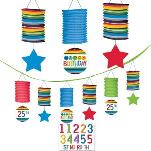 Rainbow Happy Birthday Paper Lantern Garland Kit