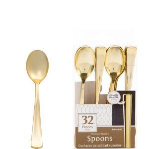 Gold Premium Plastic Spoons 32ct