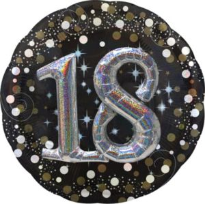 18th Birthday Balloon - 3D Sparkling Celebration