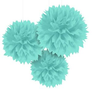 Robin's Egg Blue Fluffy Decorations 3ct
