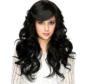 Curly Black Bombshell Farrah Cosplay Wig