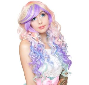 Curly Pastel Rainbow Cosplay Wig 32in Party City