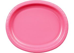 Bright Pink Paper Oval Plates 20ct