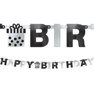 Black & Silver Birthday Banner